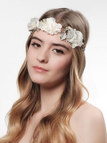 gold bridal flower headpiece with gysophilia, wedding hair flower